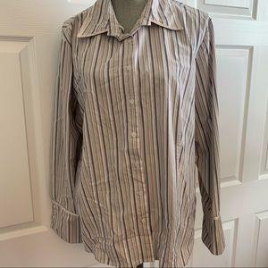 COMO WOMAN 2x stretch button shirt white pinstripe